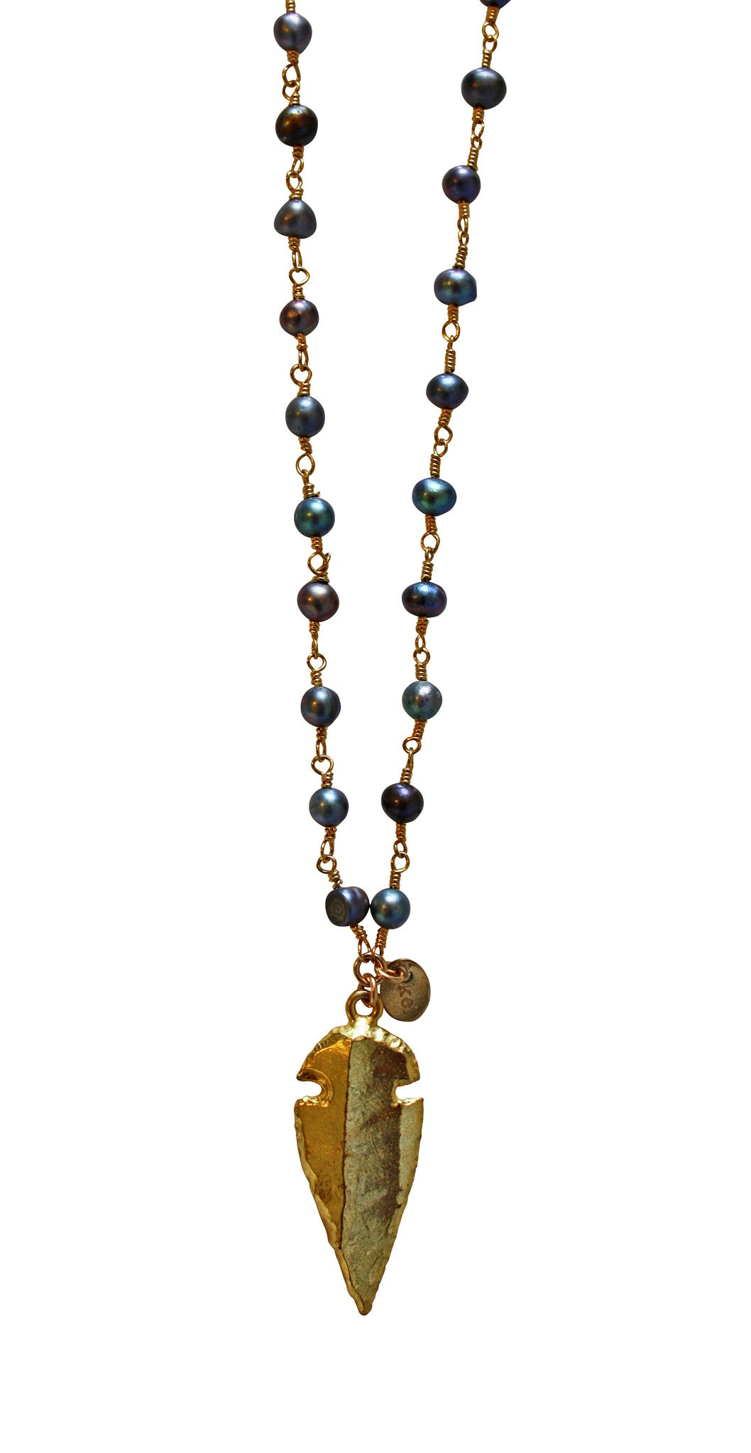 peacock pearl necklace - gold arrowhead