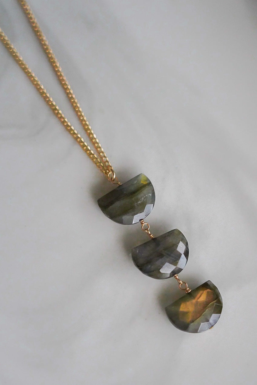labradorite trio necklace