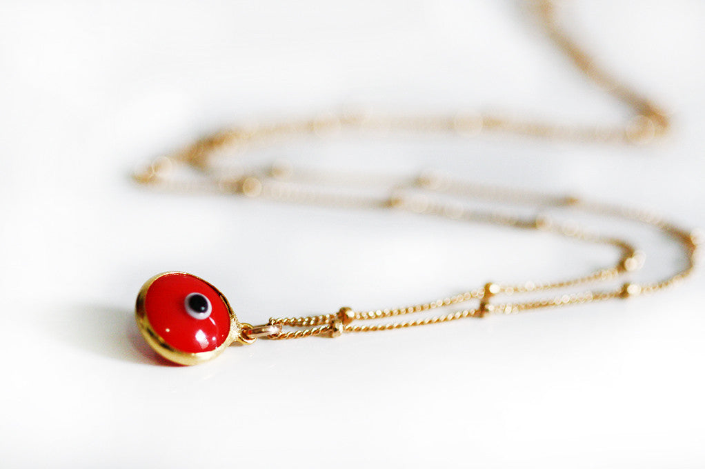 evil eye necklace - RED