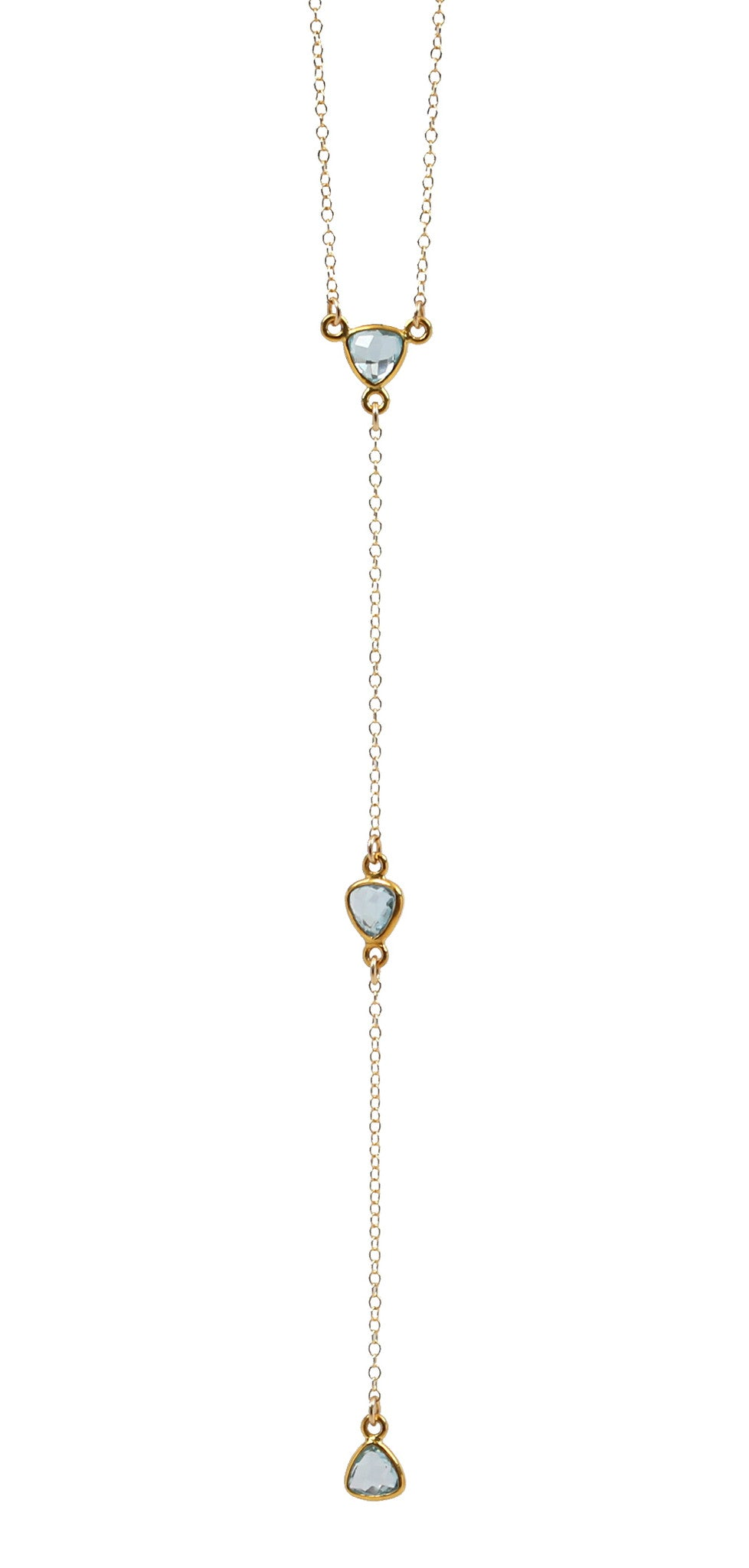 gemstone lariat - long - blue topaz, green amethyst