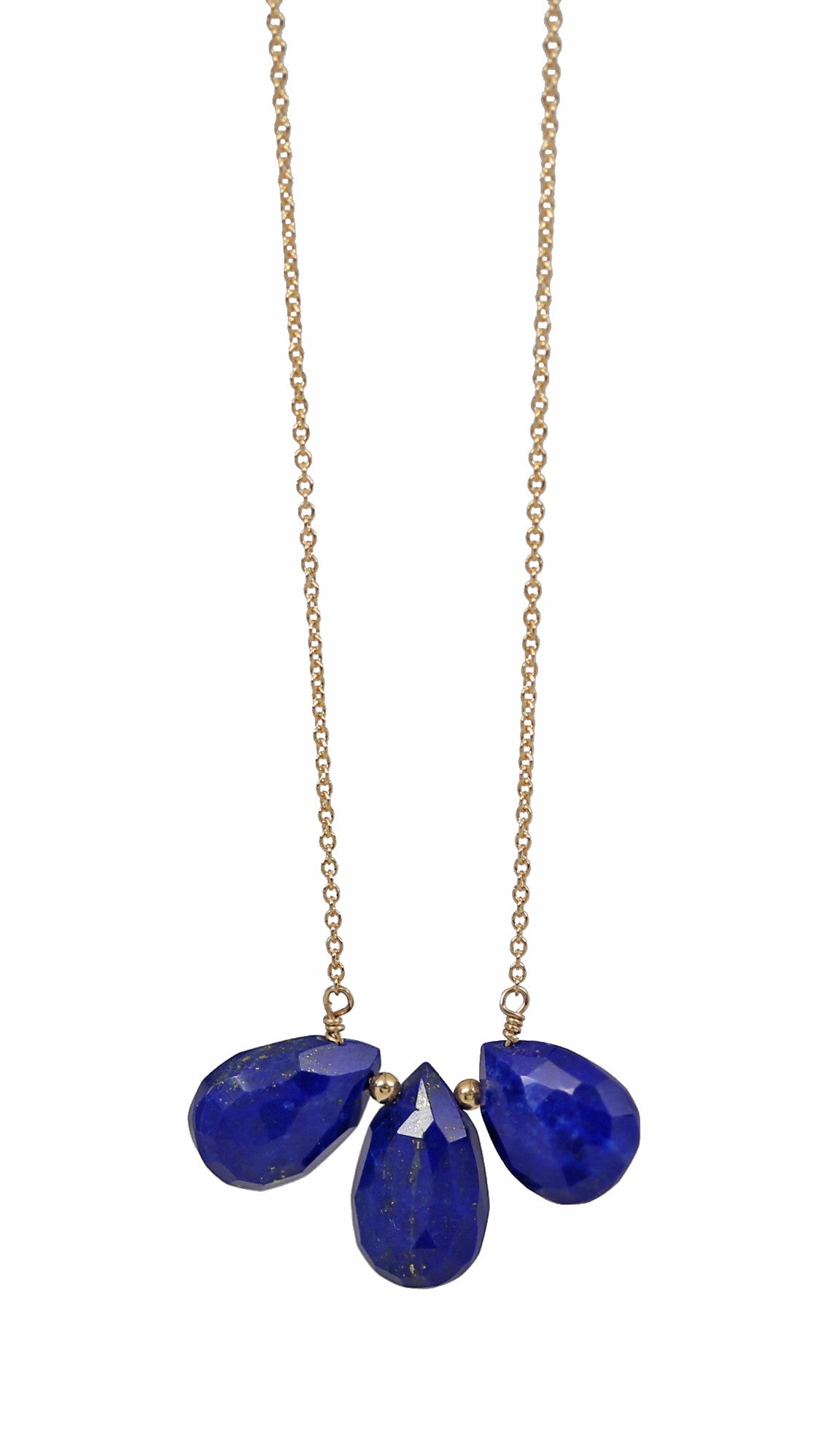 blue lapis lazuli TRIO drop necklace