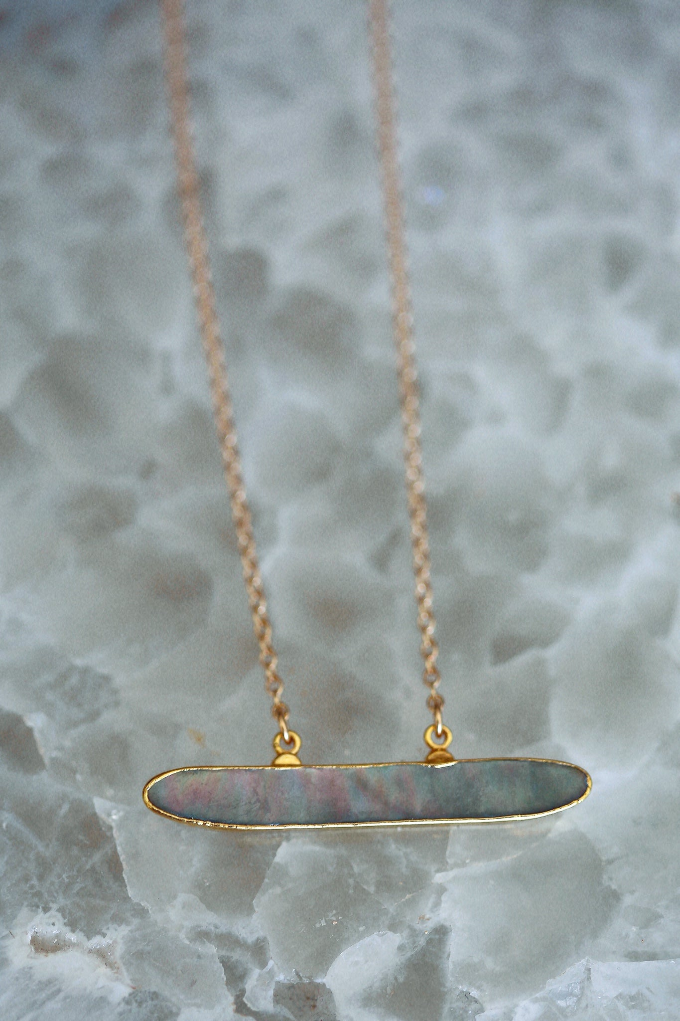 iridescent pearl bar necklace