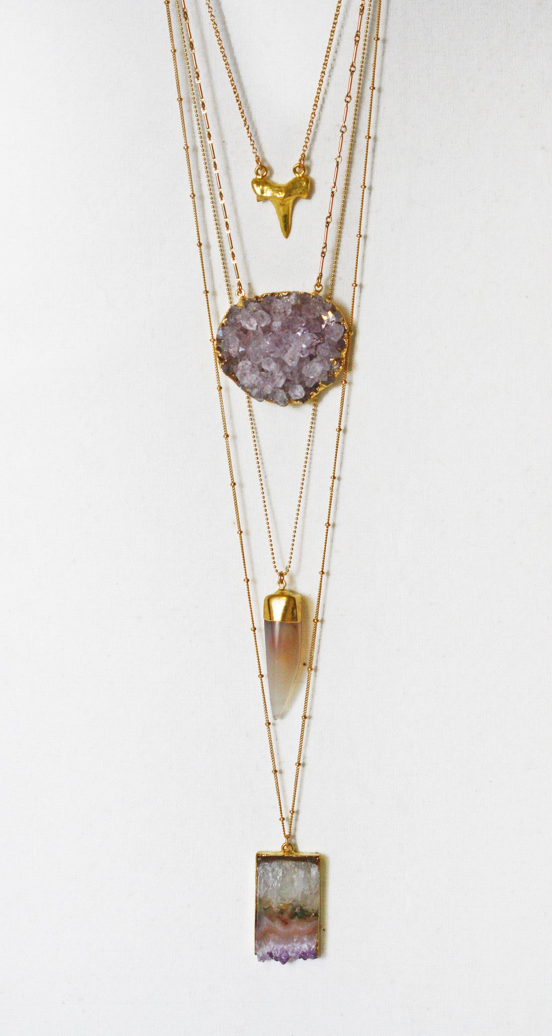 amethyst CLUSTER necklace - big