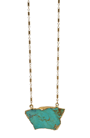 RAW turquoise necklace - tube chain