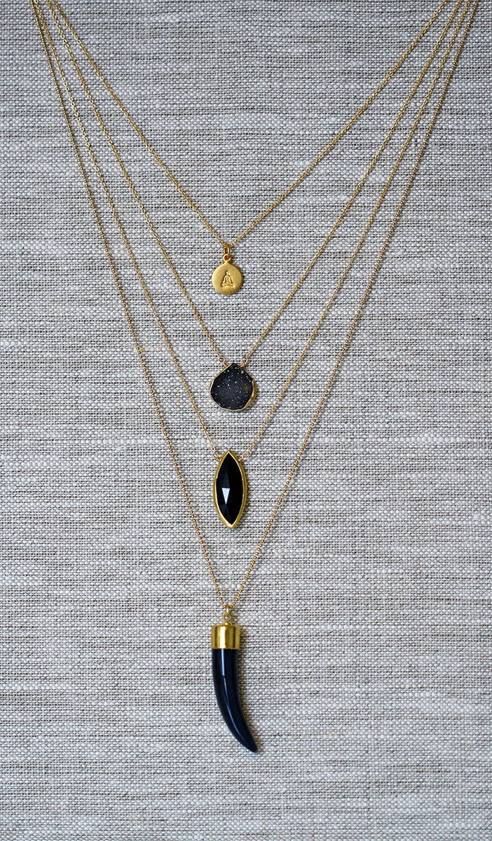 black ONYX marquise necklace
