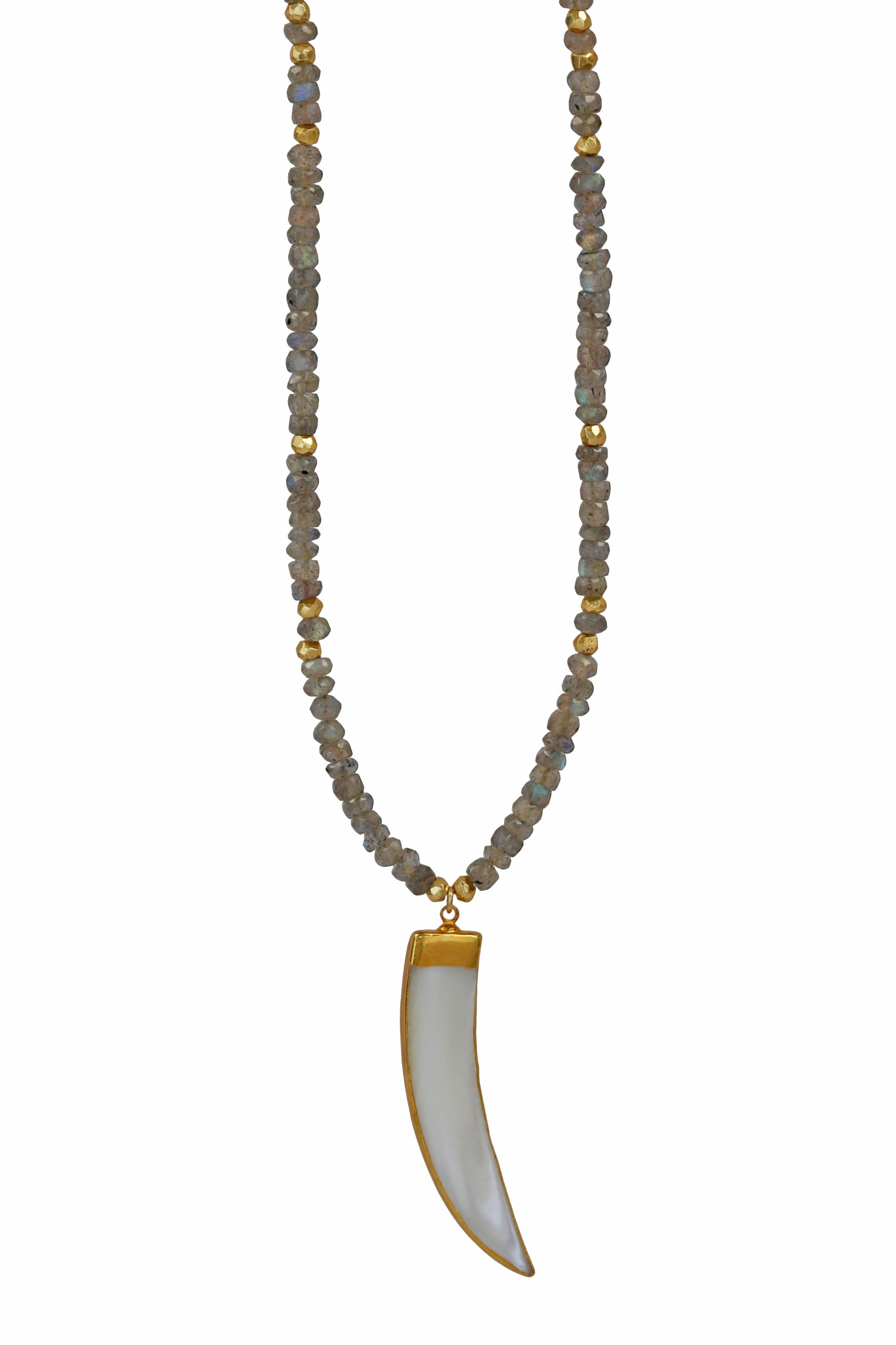 labradorite pearl horn necklace