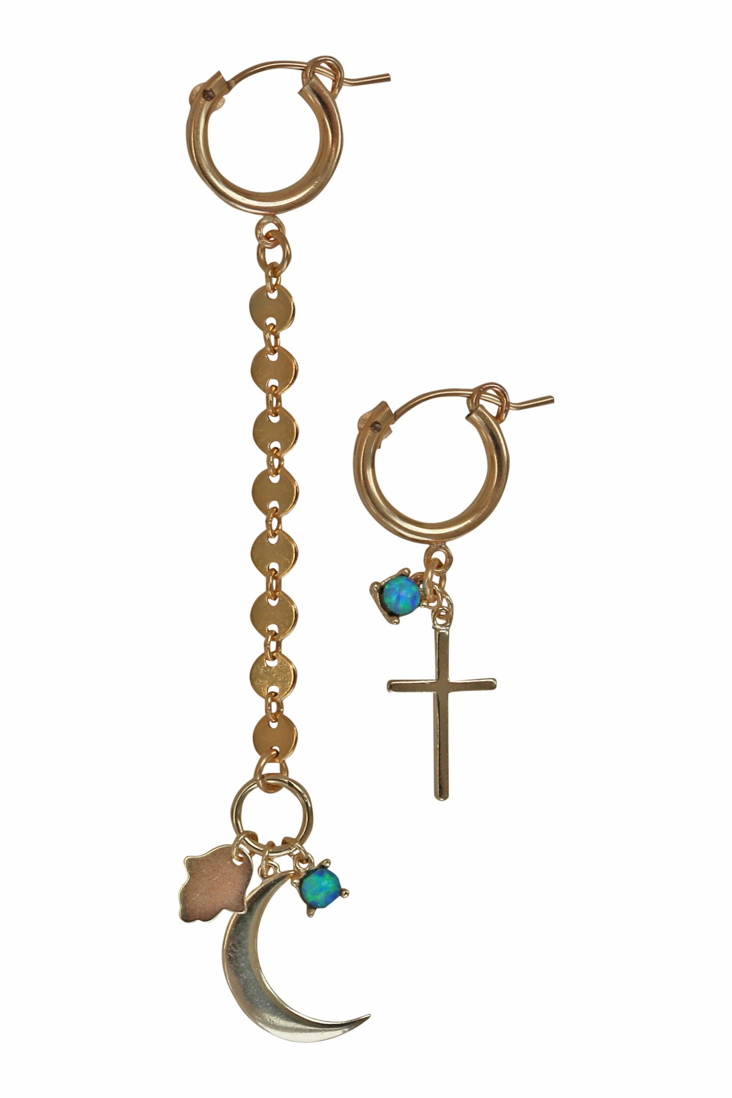 cross + moon earrings