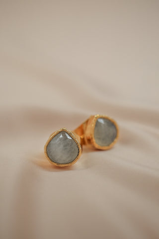 faceted moonstone cuff ring