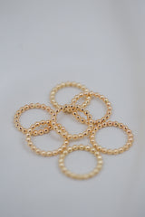 gold beaded ring - thick