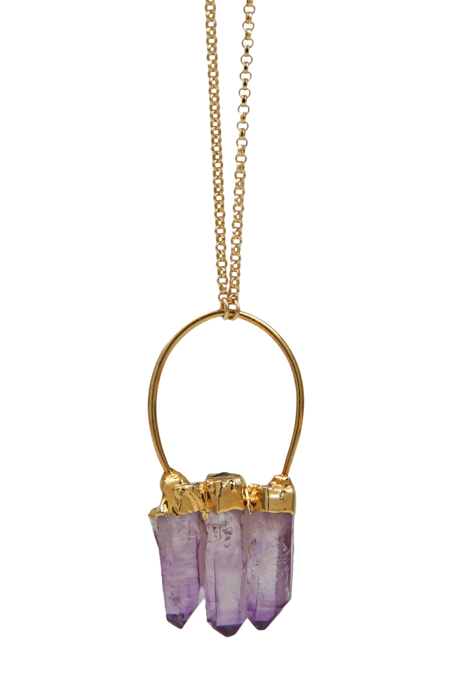 amethyst trio point necklace
