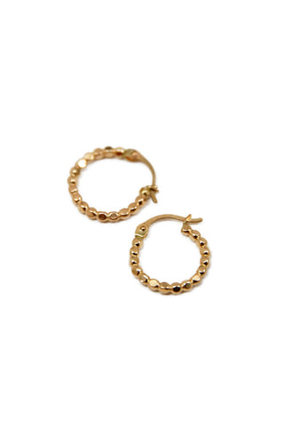 beaded gold filled hoop - petite