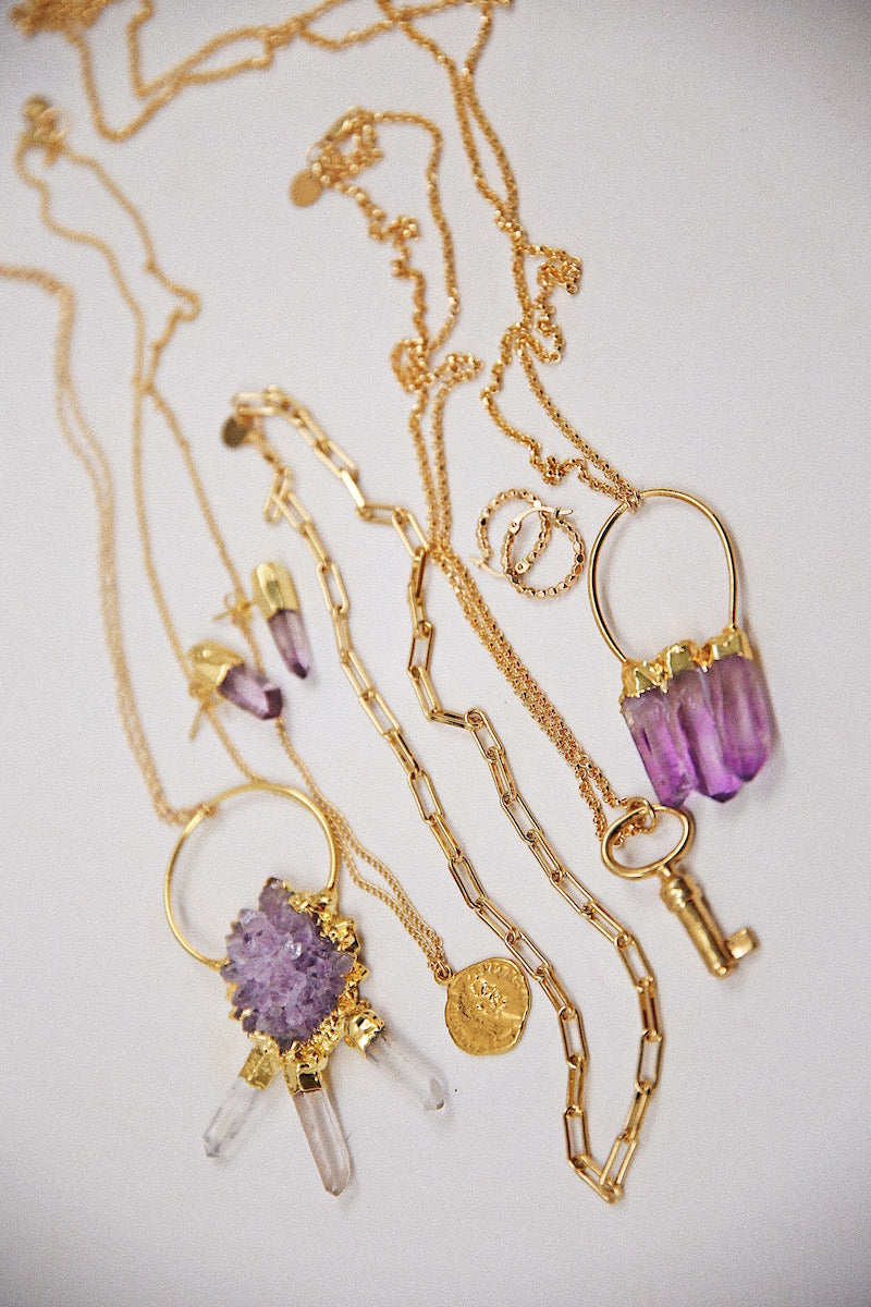 amethyst druzy with quartz trio necklace