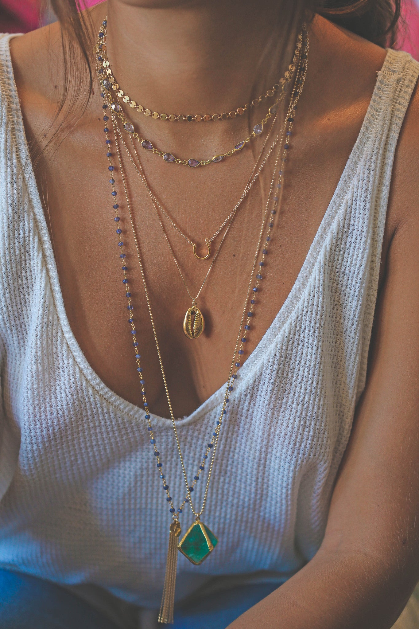 iolite tassel necklace