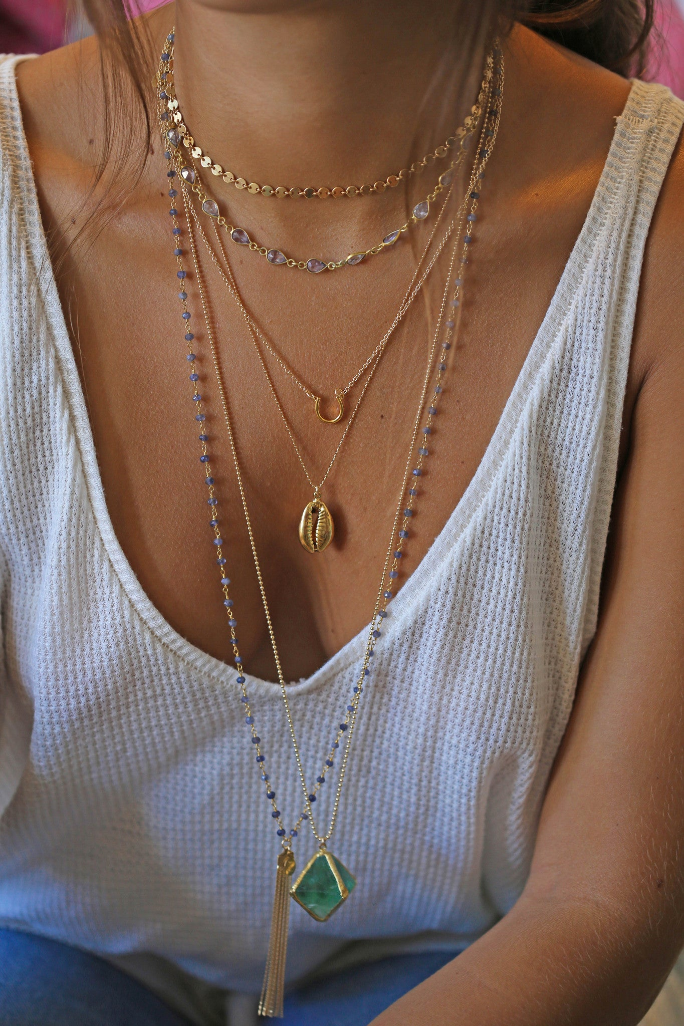 COWRIE gold shell necklace