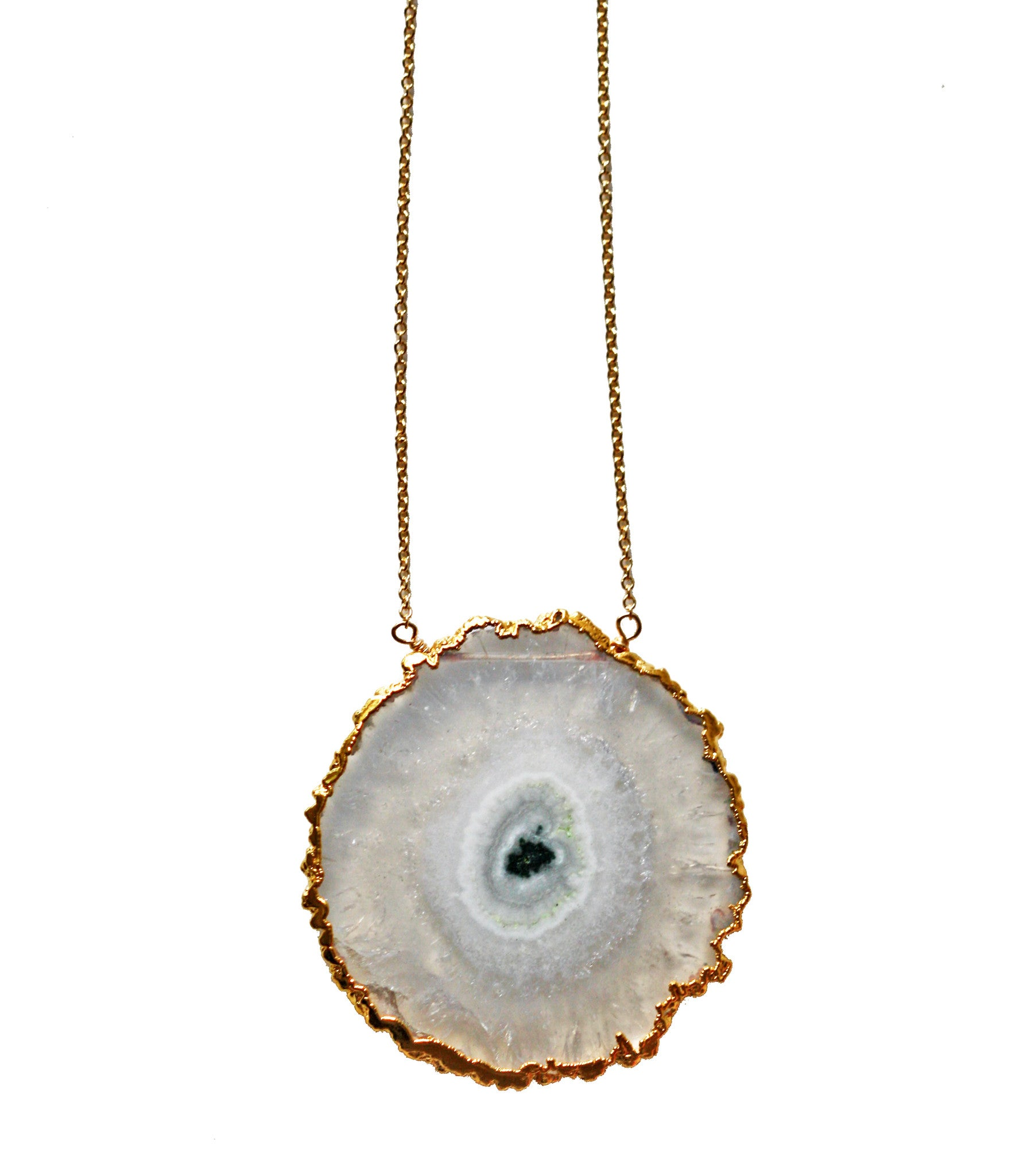 raw SOLAR quartz slice necklace - large
