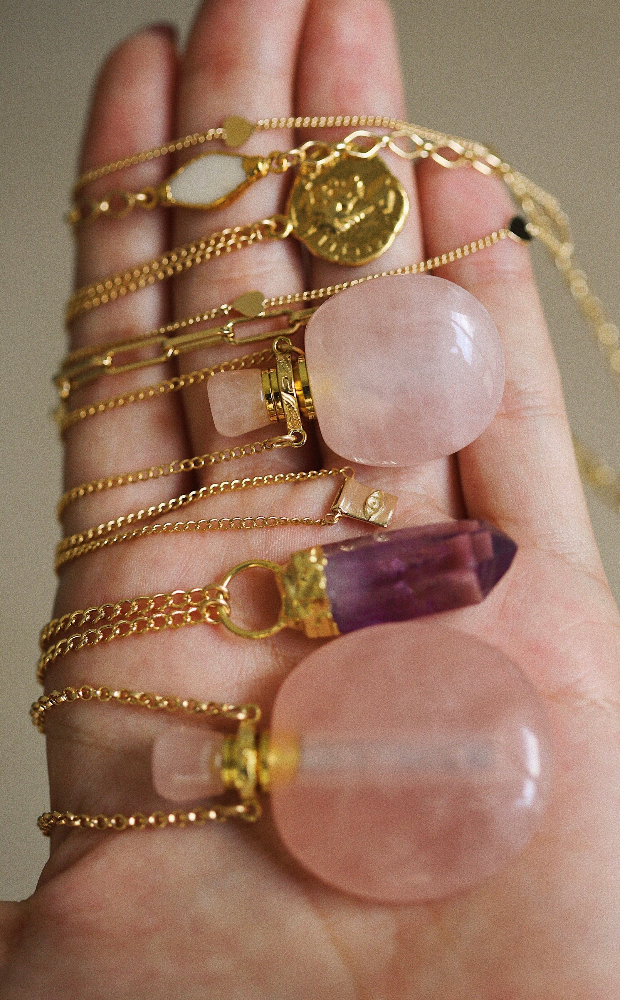 potion necklace - rose quartz - big