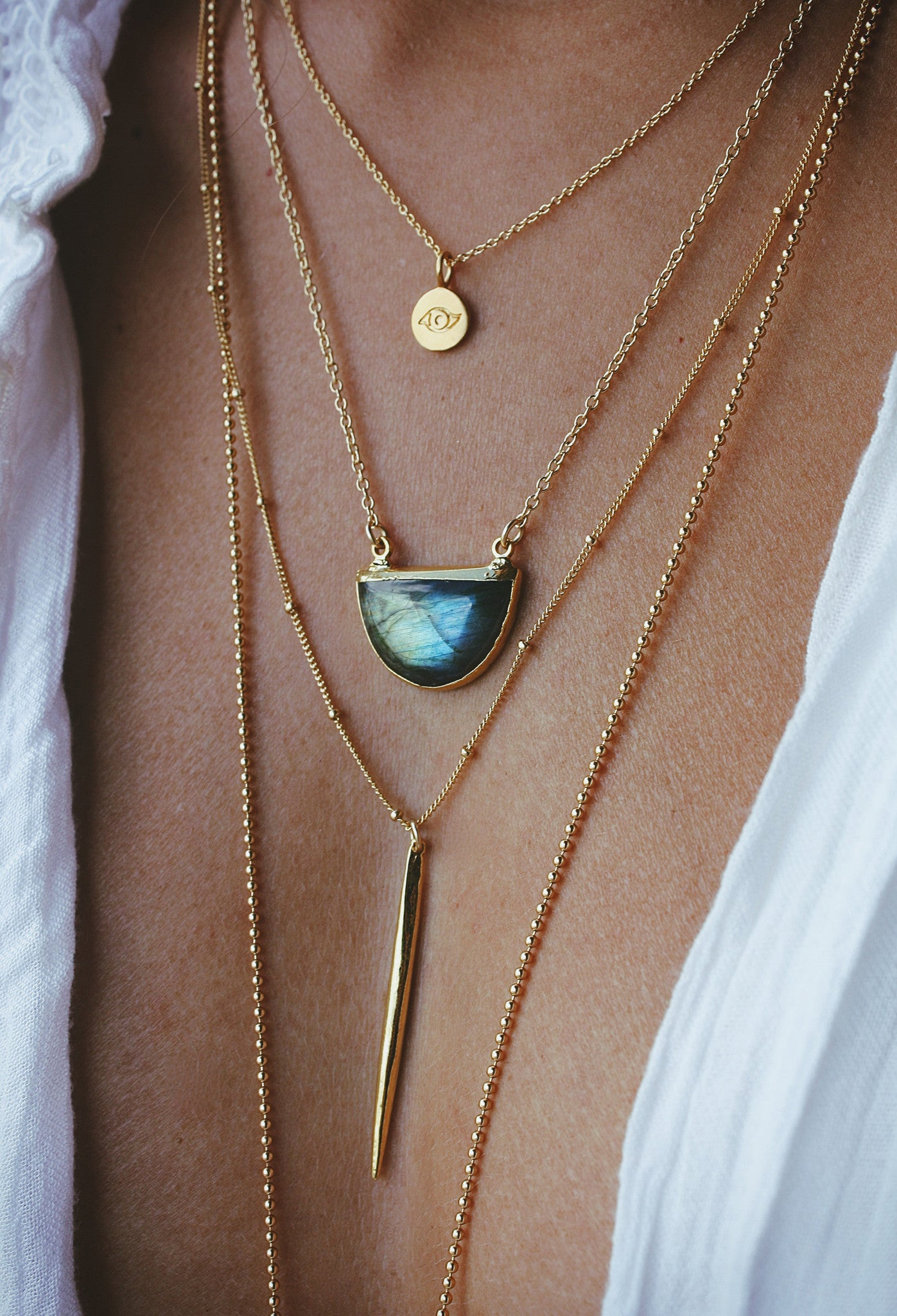 LABRADORITE half moon necklace