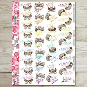 LetterJOY - Slothin' Around - Sloth Sticker Sampler