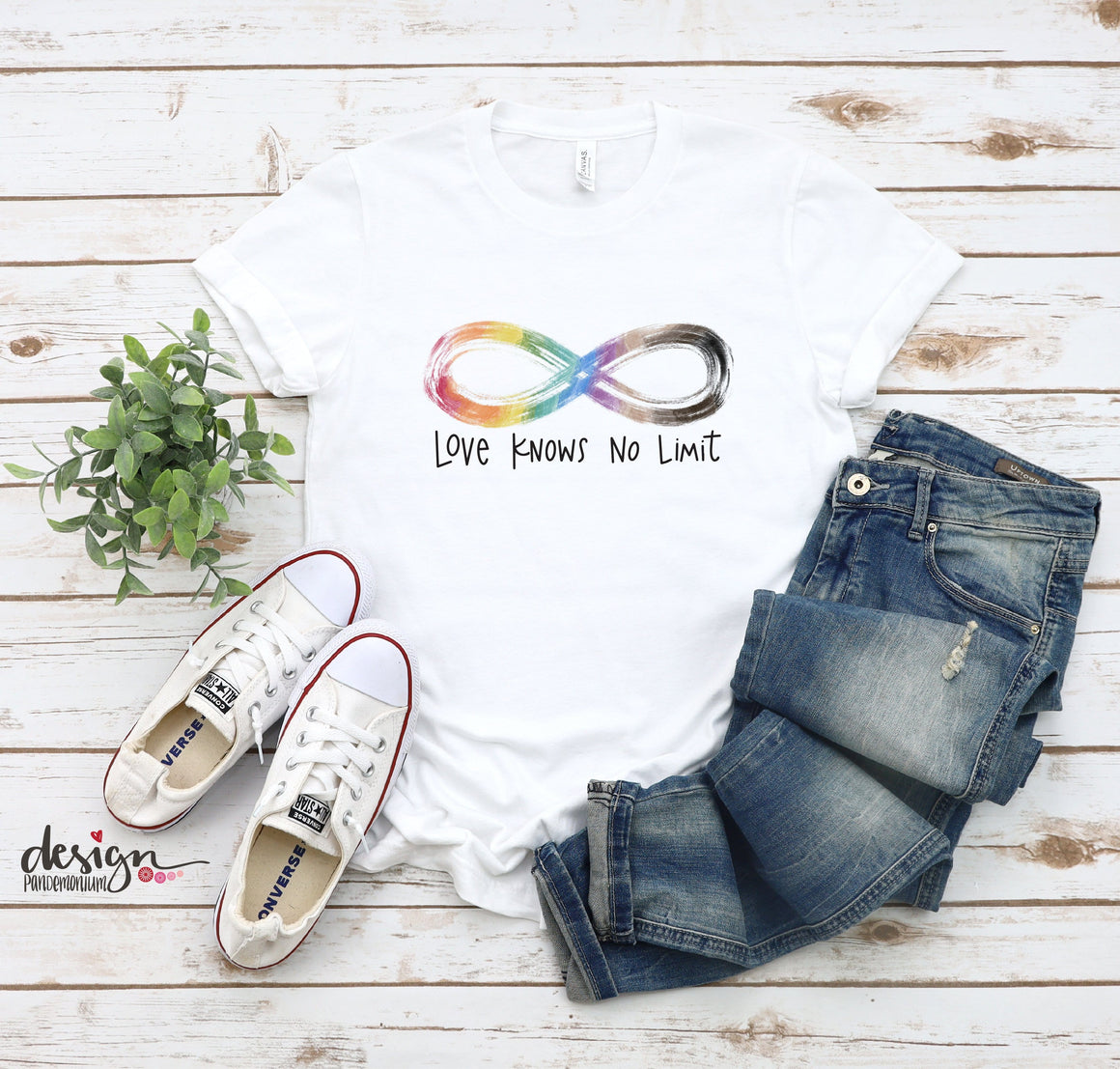 Love Knows No Limit - Autism Acceptance - Crew Neck T Shirt