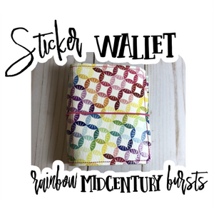 Sticker Wallet - Rainbow Midcentury Bursts
