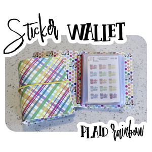 Sticker Wallet - Plaid Rainbow