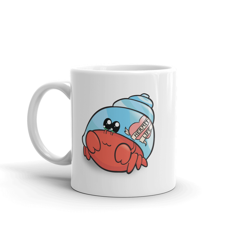 Hermit Crab Ceramic Mug, Kawaii Housewares, Hermit Life Gifts