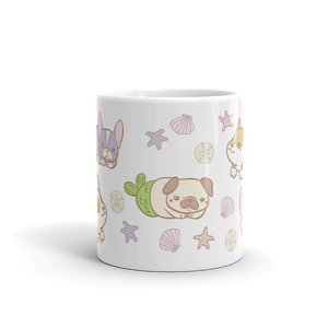 Mermaid Dogs Cute Ceramic Mug, Dog Housewares, Cute Dog Gifts