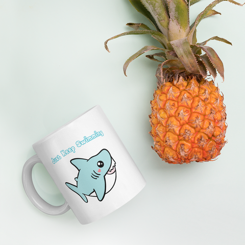 Baby Shark Mug, Cute Shark Ceramic Mug, Kawaii Housewares, Cute Shark Gifts
