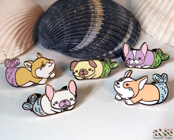 Cute French Bulldog Enamel Pin, Frenchie Pin, Merdog, Mermaid Pins