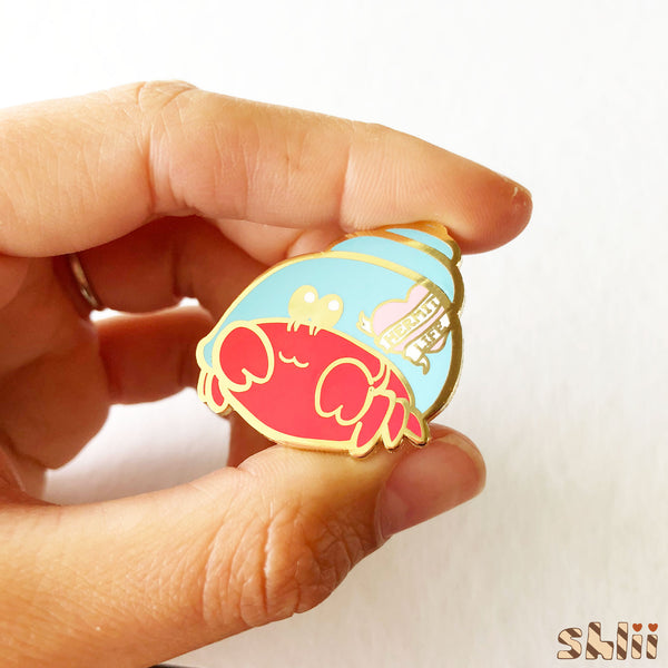 Cute Hermit Crab Enamel Pin, Hermit Life Pin, Crab Pin, Nautical Pin