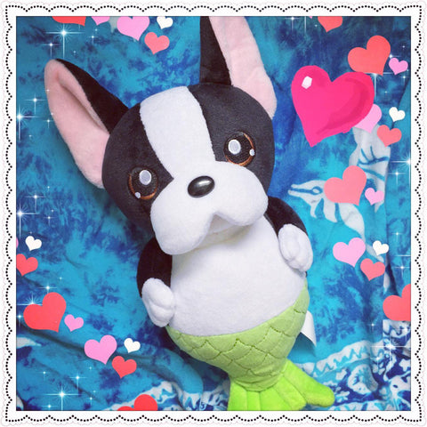 Boston Terrier, Cute Plush, Mermaid Plush, Mermaid Doll, Boston Terrier Plush