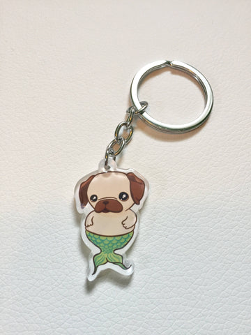 Pug Mermaid Keychain
