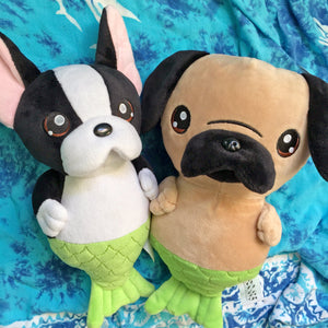 Cute Pug Plush, Merpug, Pug Plush, Pug Doll, Pug Gifts, Cute Plush Toy, Cute Doll, Kawaii Pug