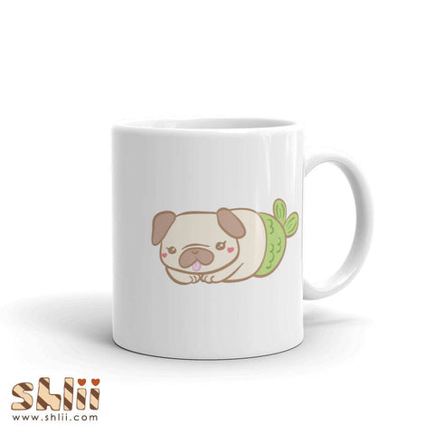 Cute Pug Mermaid Merpug Ceramic Mug, Pug Housewares, Cute Pug Gifts