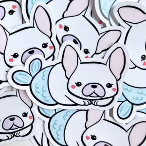 French Bulldog Mermaid Vinyl Sticker