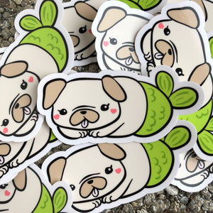 Cute Pug Sticker, Pug Vinyl Sticker