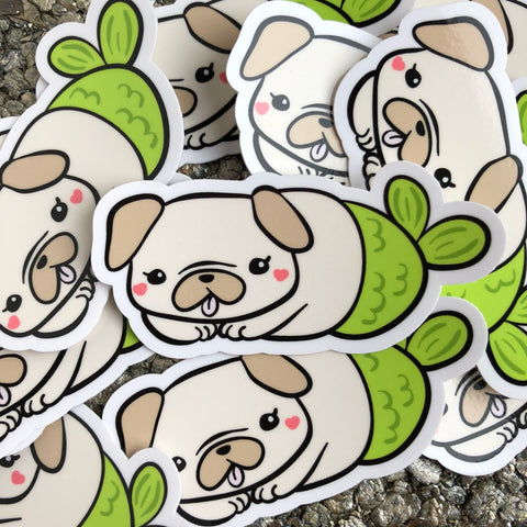 Pug Mermaid Merpug Vinyl Sticker