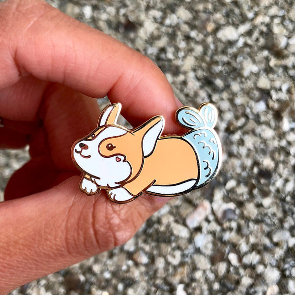 Corgi Enamel Pin, Corgi Pin, Mermaid Pin, Merdog, Mermaid Pins