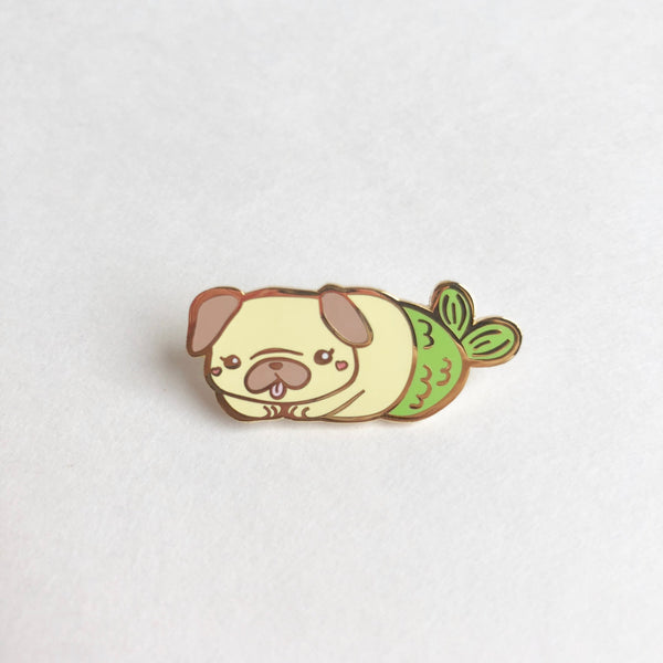 Cute Pug Enamel Pin, Pug Pin, Merpug, Mermaid Pin, Pug Flair, Pug Gifts, Cute Dog Pins