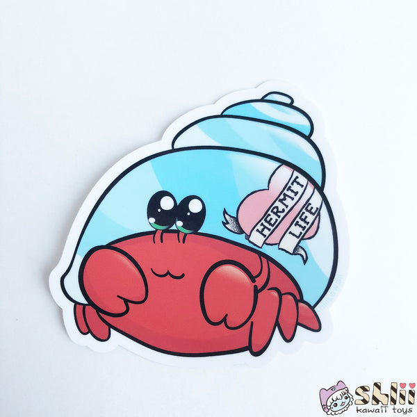 Cute Hermit Crab Sticker, Crab Vinyl Sticker, Crab Decal, Hermit Life