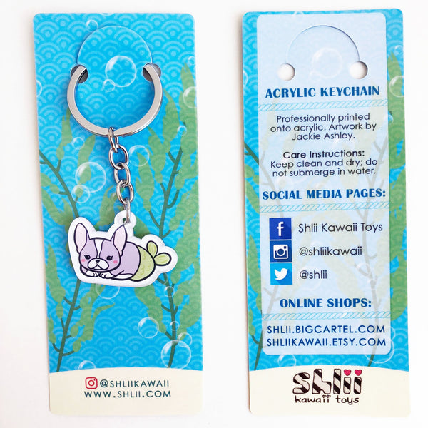 Boston Terrier Mermaid Keychain