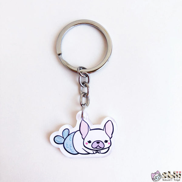 Cute French Bulldog Keychain, Frenchie Charm, Mermaid Charm, Ita Bag