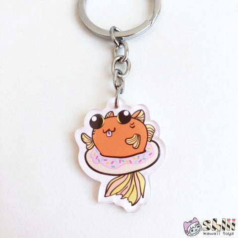 Catfish Keychain, Kitty Charm, Donut Charm, Cat Flair, Cat Gifts