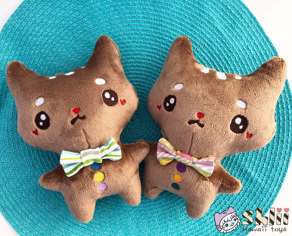 Gingerbread Cat Doll, Kitty Plush, Coffee, Gingerbread Plush, Gingerbread Doll