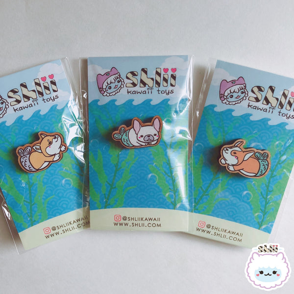 Shlii Merdogs Merfrenchie Wooden Pin