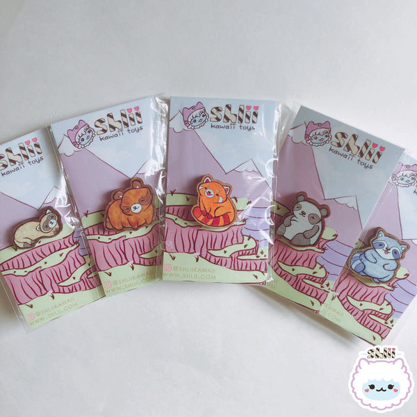 Kawaii Bandits Raccoon Wooden Pin