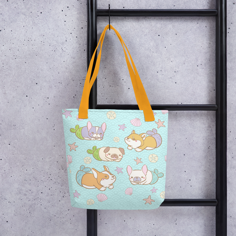 Mermaid Dogs Cute Tote Bag