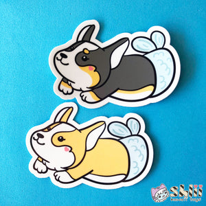 Corgi Mermaid Vinyl Sticker