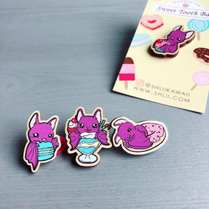 Cute Bat Wooden Pin, Sweet Tooth Pin, Dessert Pin, Cupcake Wooden Pin, Cute Pin, Kawaii Pin, Bat Pin