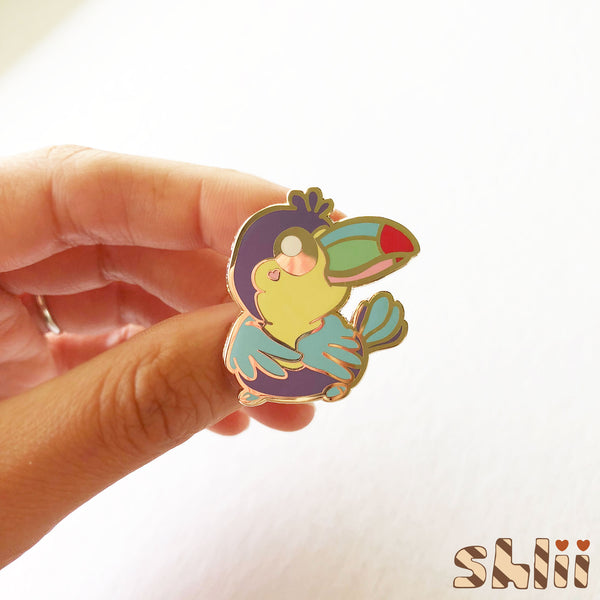 Toucan Enamel Pin, Tropical Pin, Bird Pin, Cute Pin, Rainbow, Sassy